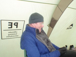 In the mess tent relaxing before the summit climb!