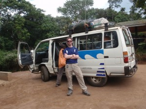 Jim about to get into the mini-bus at Mweka Gate - THE END!